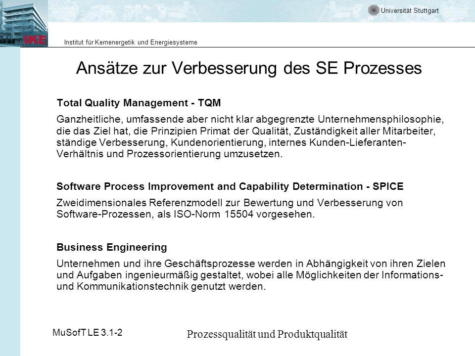Universität Stuttgart Institut für Kernenergetik und Energiesysteme MuSofT LE 3.1-2 Prozessqualität und Produktqualität Maßnahmen zur Qualitätssteigerung Das Capability Maturity Modell (CMM) vorsucht dies in ein Schema zu bringen