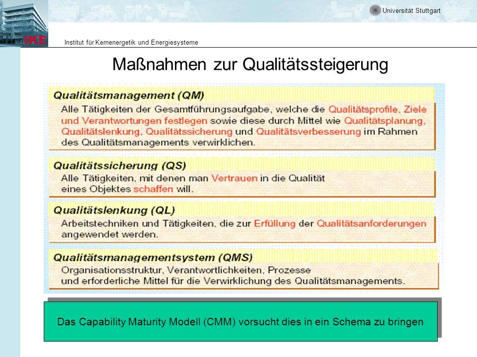 Universität Stuttgart Institut für Kernenergetik und Energiesysteme MuSofT LE 3.1-2 Prozessqualität und Produktqualität Auditierung, Zertifizierung und Akkreditierung