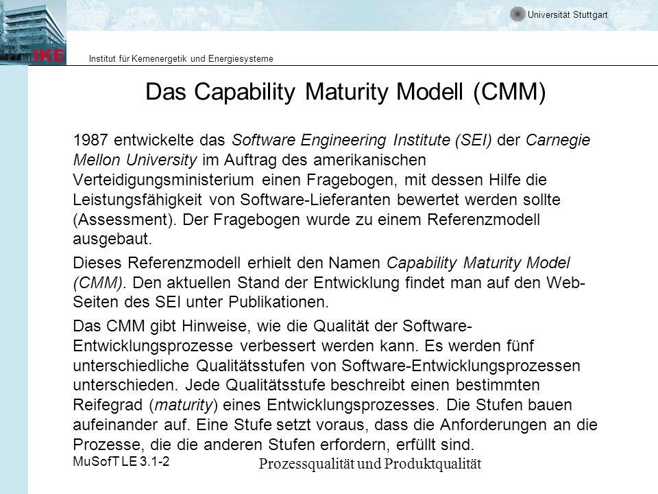 Universität Stuttgart Institut für Kernenergetik und Energiesysteme MuSofT LE 3.1-2 Prozessqualität und Produktqualität Das Capacity Maturity (CMM) Grundkonzept