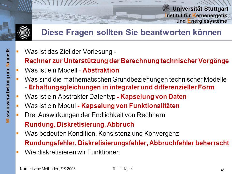 Universität Stuttgart Wissensverarbeitung und Numerik I nstitut für K ernenergetik und E nergiesysteme Numerische Methoden, SS 2003Teil II: Kp. 4 4/1