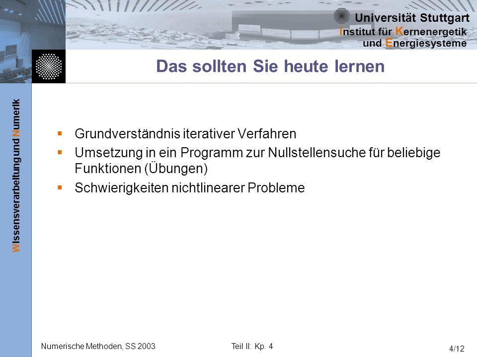 Universität Stuttgart Wissensverarbeitung und Numerik I nstitut für K ernenergetik und E nergiesysteme Numerische Methoden, SS 2003Teil II: Kp. 4 4/12
