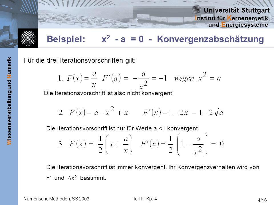 Universität Stuttgart Wissensverarbeitung und Numerik I nstitut für K ernenergetik und E nergiesysteme Numerische Methoden, SS 2003Teil II: Kp. 4 4/16