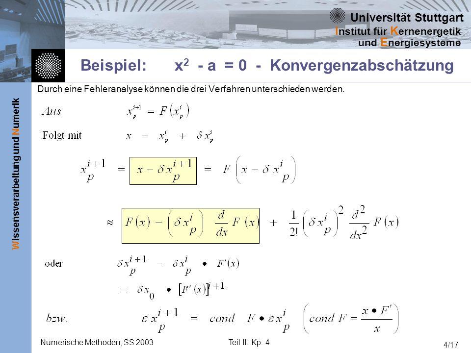 Universität Stuttgart Wissensverarbeitung und Numerik I nstitut für K ernenergetik und E nergiesysteme Numerische Methoden, SS 2003Teil II: Kp. 4 4/17