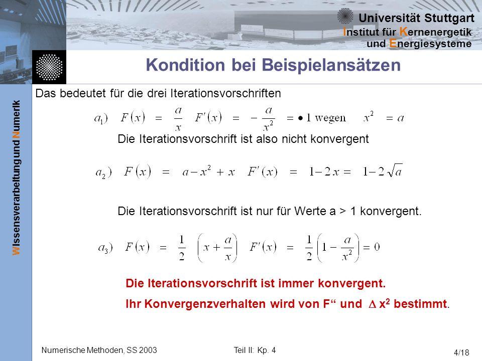 Universität Stuttgart Wissensverarbeitung und Numerik I nstitut für K ernenergetik und E nergiesysteme Numerische Methoden, SS 2003Teil II: Kp. 4 4/18