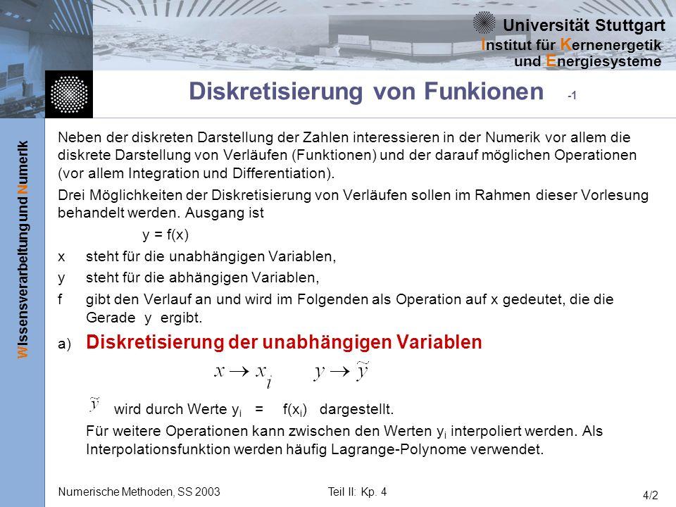 Universität Stuttgart Wissensverarbeitung und Numerik I nstitut für K ernenergetik und E nergiesysteme Numerische Methoden, SS 2003Teil II: Kp. 4 4/2
