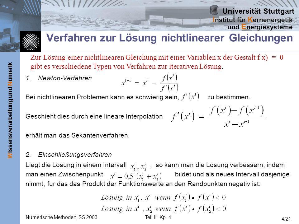 Universität Stuttgart Wissensverarbeitung und Numerik I nstitut für K ernenergetik und E nergiesysteme Numerische Methoden, SS 2003Teil II: Kp. 4 4/21