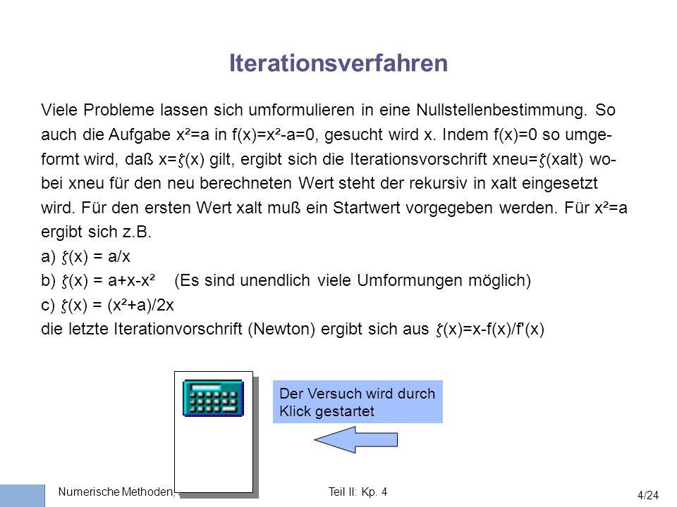 Universität Stuttgart Wissensverarbeitung und Numerik I nstitut für K ernenergetik und E nergiesysteme Numerische Methoden, SS 2003Teil II: Kp. 4 4/24