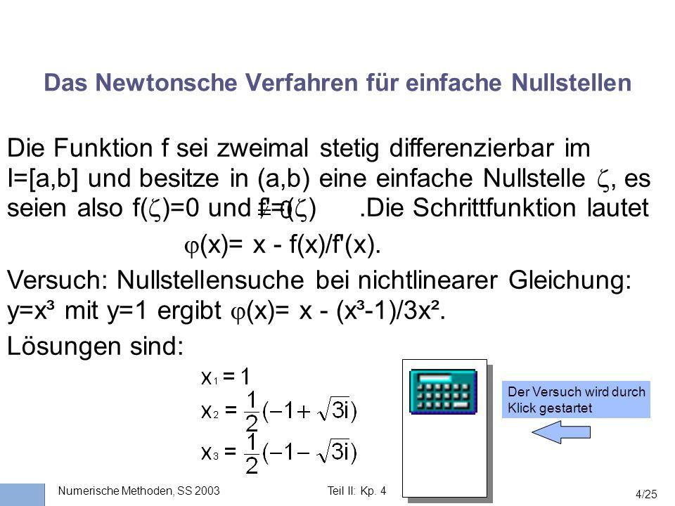 Universität Stuttgart Wissensverarbeitung und Numerik I nstitut für K ernenergetik und E nergiesysteme Numerische Methoden, SS 2003Teil II: Kp. 4 4/25