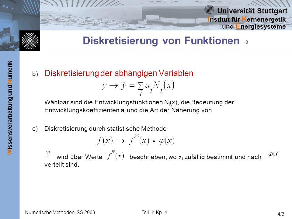 Universität Stuttgart Wissensverarbeitung und Numerik I nstitut für K ernenergetik und E nergiesysteme Numerische Methoden, SS 2003Teil II: Kp. 4 4/3
