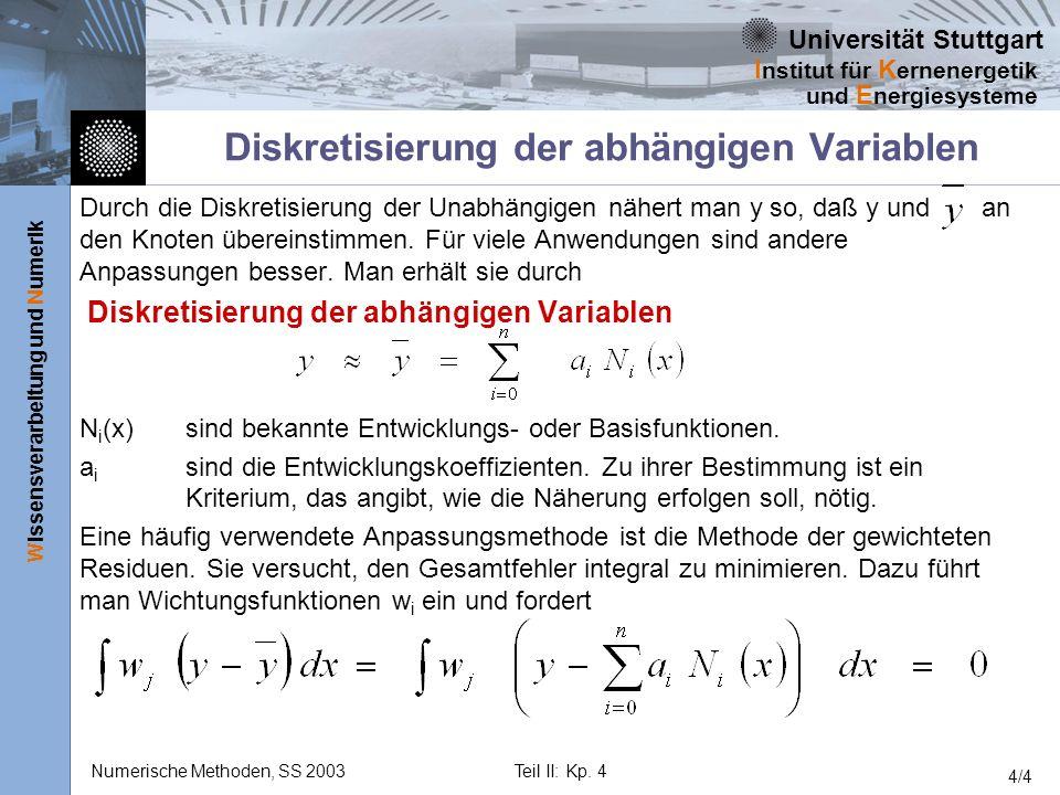 Universität Stuttgart Wissensverarbeitung und Numerik I nstitut für K ernenergetik und E nergiesysteme Numerische Methoden, SS 2003Teil II: Kp. 4 4/4