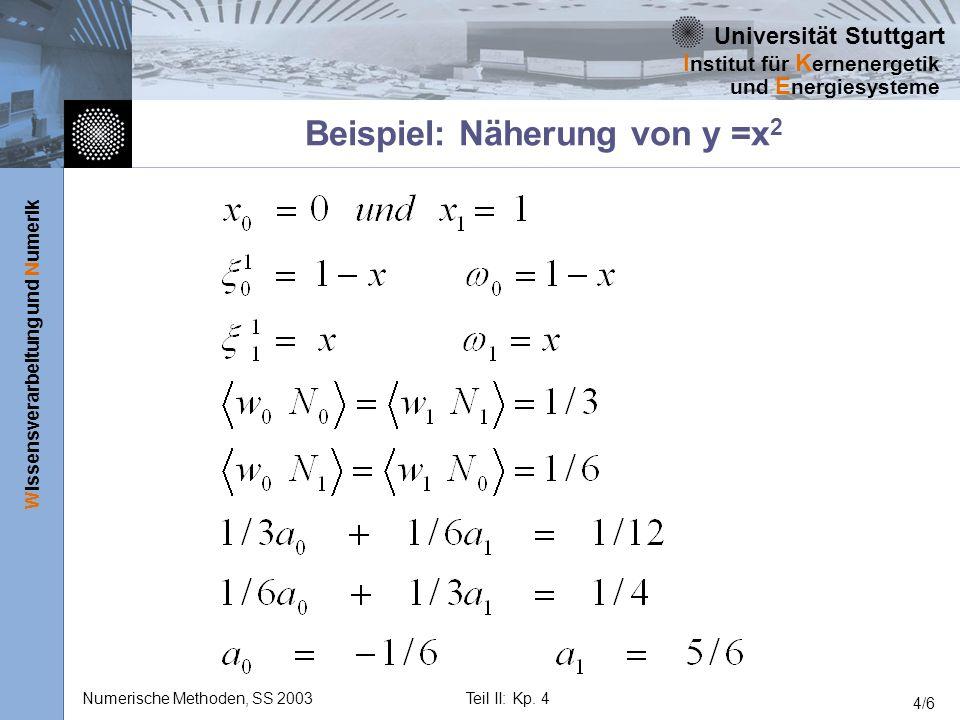 Universität Stuttgart Wissensverarbeitung und Numerik I nstitut für K ernenergetik und E nergiesysteme Numerische Methoden, SS 2003Teil II: Kp. 4 4/6
