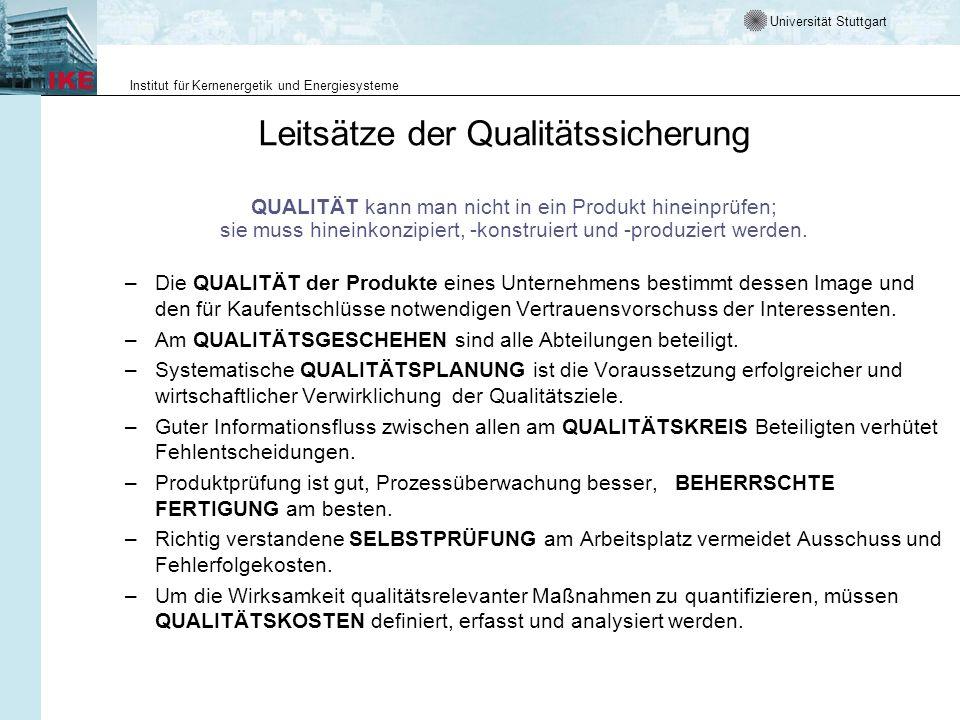 Universität Stuttgart Institut für Kernenergetik und Energiesysteme Leitsätze der Qualitätssicherung QUALITÄT kann man nicht in ein Produkt hineinprüf