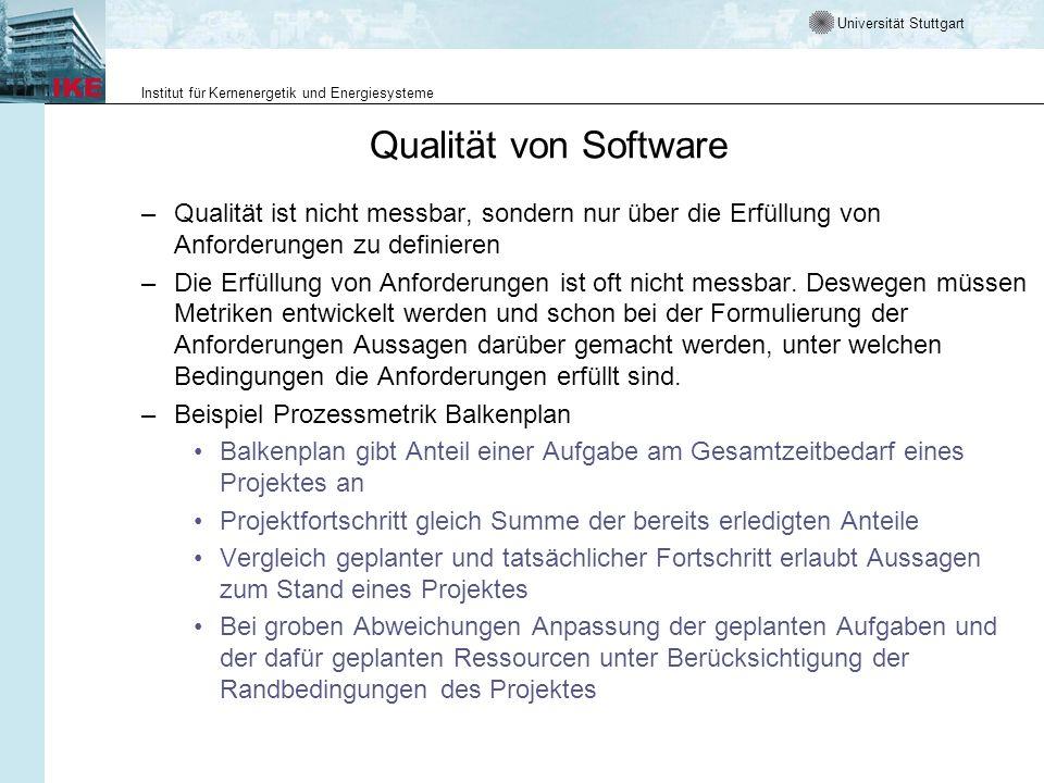 Universität Stuttgart Institut für Kernenergetik und Energiesysteme Qualität von Software –Qualität ist nicht messbar, sondern nur über die Erfüllung