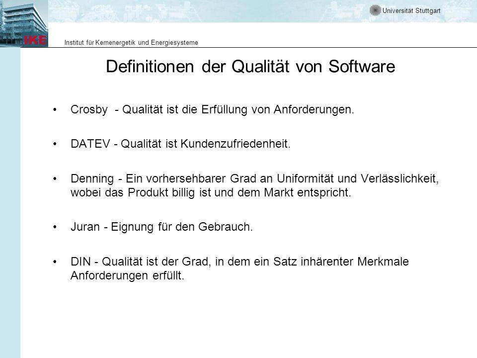 Universität Stuttgart Institut für Kernenergetik und Energiesysteme Definitionen der Qualität von Software Crosby - Qualität ist die Erfüllung von Anf