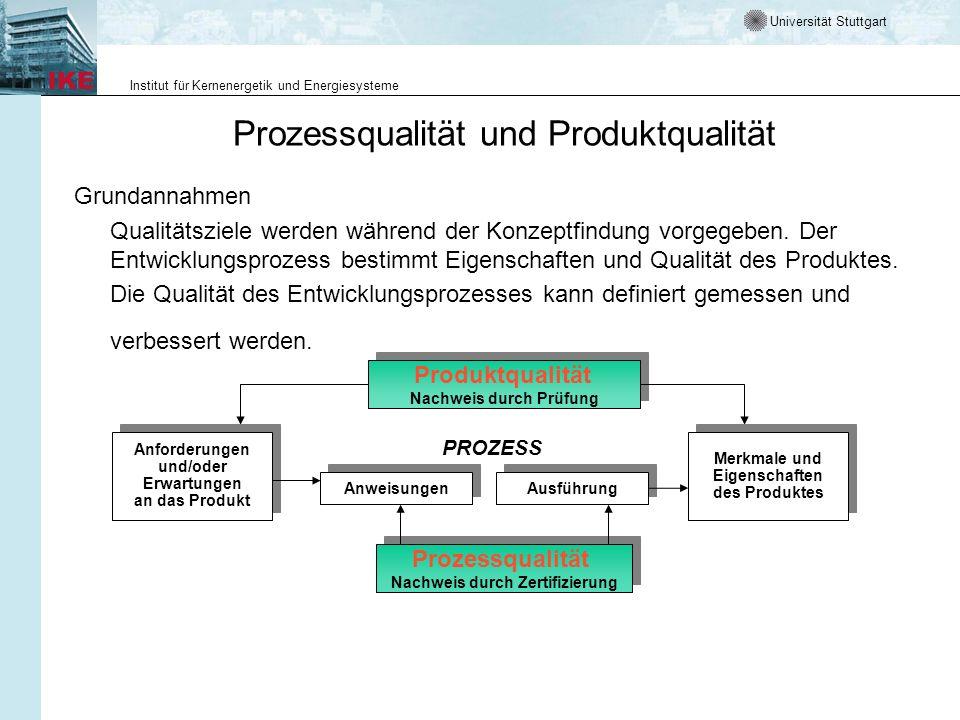 Universität Stuttgart Institut für Kernenergetik und Energiesysteme Prozessqualität und Produktqualität Grundannahmen Qualitätsziele werden während de