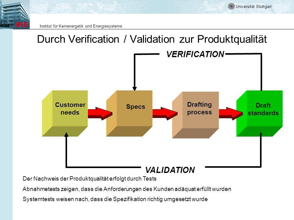 Universität Stuttgart Institut für Kernenergetik und Energiesysteme Draft standards Drafting process Specs Durch Verification / Validation zur Produkt