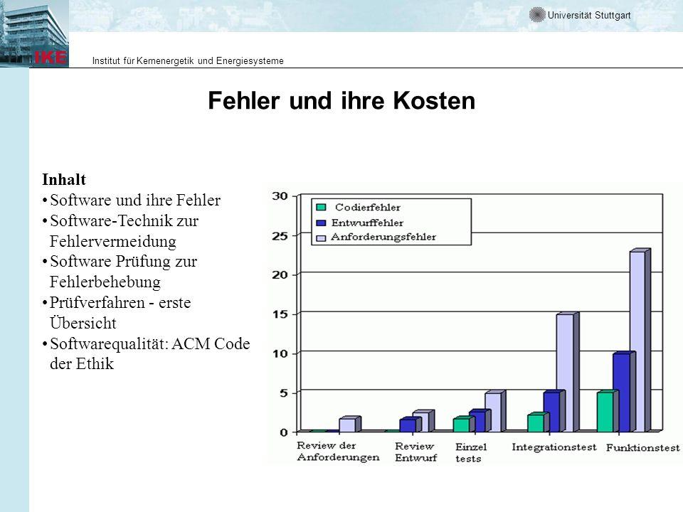Universität Stuttgart Institut für Kernenergetik und Energiesysteme Fehler und ihre Kosten Inhalt Software und ihre Fehler Software-Technik zur Fehler