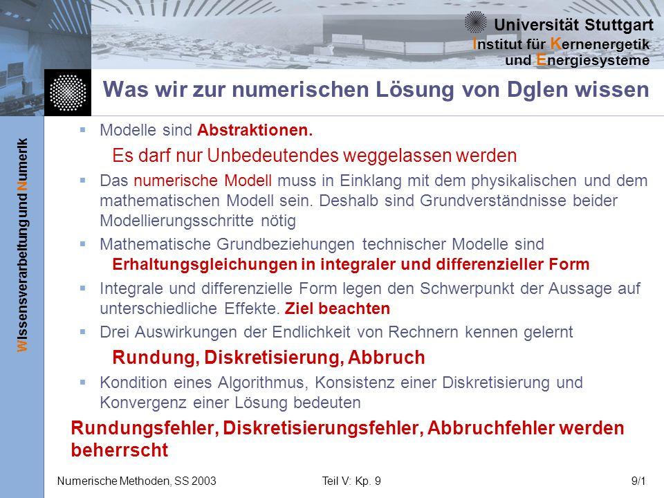 Universität Stuttgart Wissensverarbeitung und Numerik I nstitut für K ernenergetik und E nergiesysteme Numerische Methoden, SS 2003Teil V: Kp. 99/1 Wa
