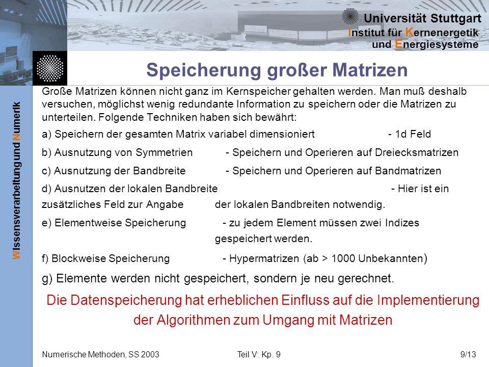 Universität Stuttgart Wissensverarbeitung und Numerik I nstitut für K ernenergetik und E nergiesysteme Numerische Methoden, SS 2003Teil V: Kp. 99/13 S
