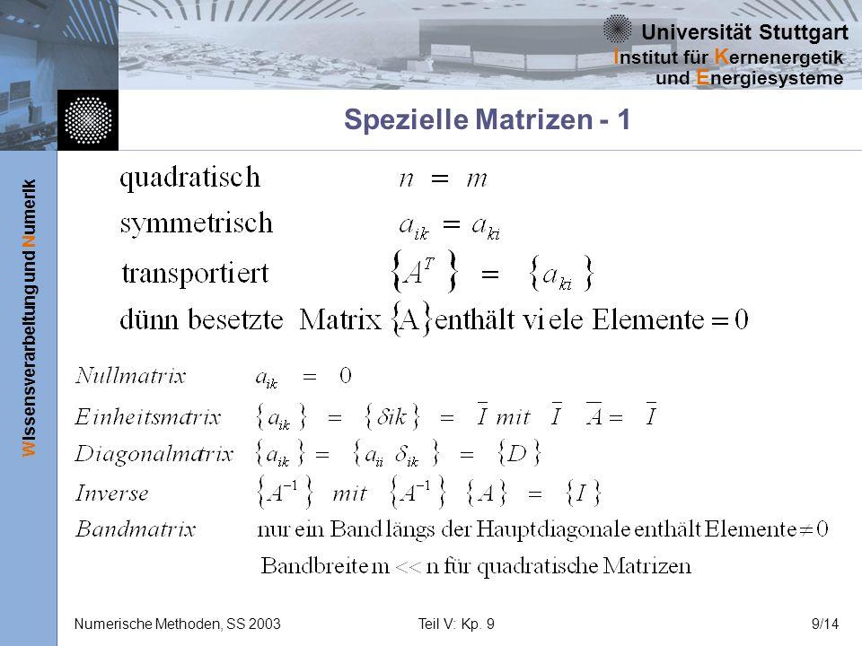 Universität Stuttgart Wissensverarbeitung und Numerik I nstitut für K ernenergetik und E nergiesysteme Numerische Methoden, SS 2003Teil V: Kp. 99/14 S