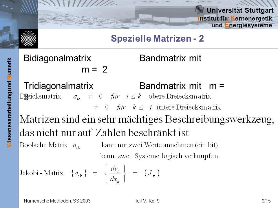 Universität Stuttgart Wissensverarbeitung und Numerik I nstitut für K ernenergetik und E nergiesysteme Numerische Methoden, SS 2003Teil V: Kp. 99/15 S