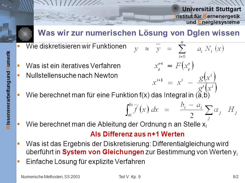 Universität Stuttgart Wissensverarbeitung und Numerik I nstitut für K ernenergetik und E nergiesysteme Numerische Methoden, SS 2003Teil V: Kp. 99/2 Wa