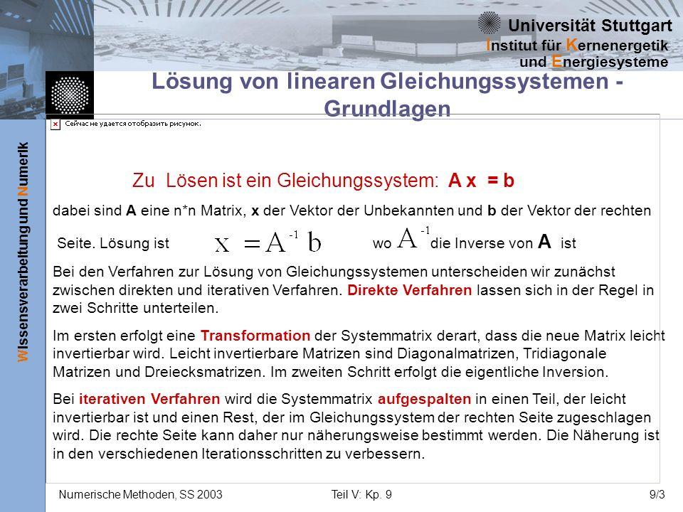 Universität Stuttgart Wissensverarbeitung und Numerik I nstitut für K ernenergetik und E nergiesysteme Numerische Methoden, SS 2003Teil V: Kp. 99/3 Lö