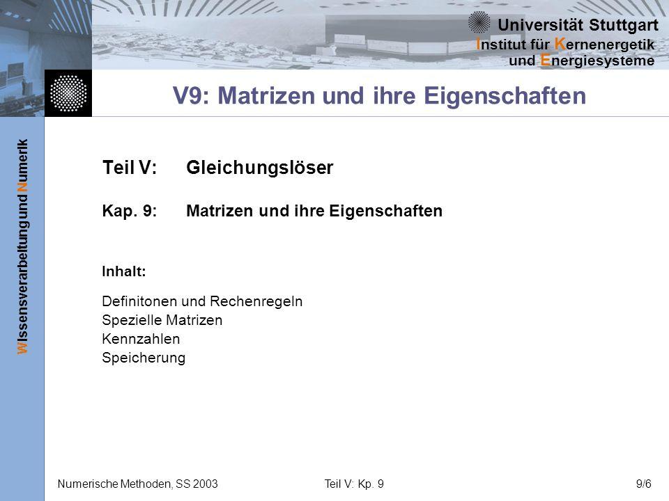 Universität Stuttgart Wissensverarbeitung und Numerik I nstitut für K ernenergetik und E nergiesysteme Numerische Methoden, SS 2003Teil V: Kp. 99/6 Te