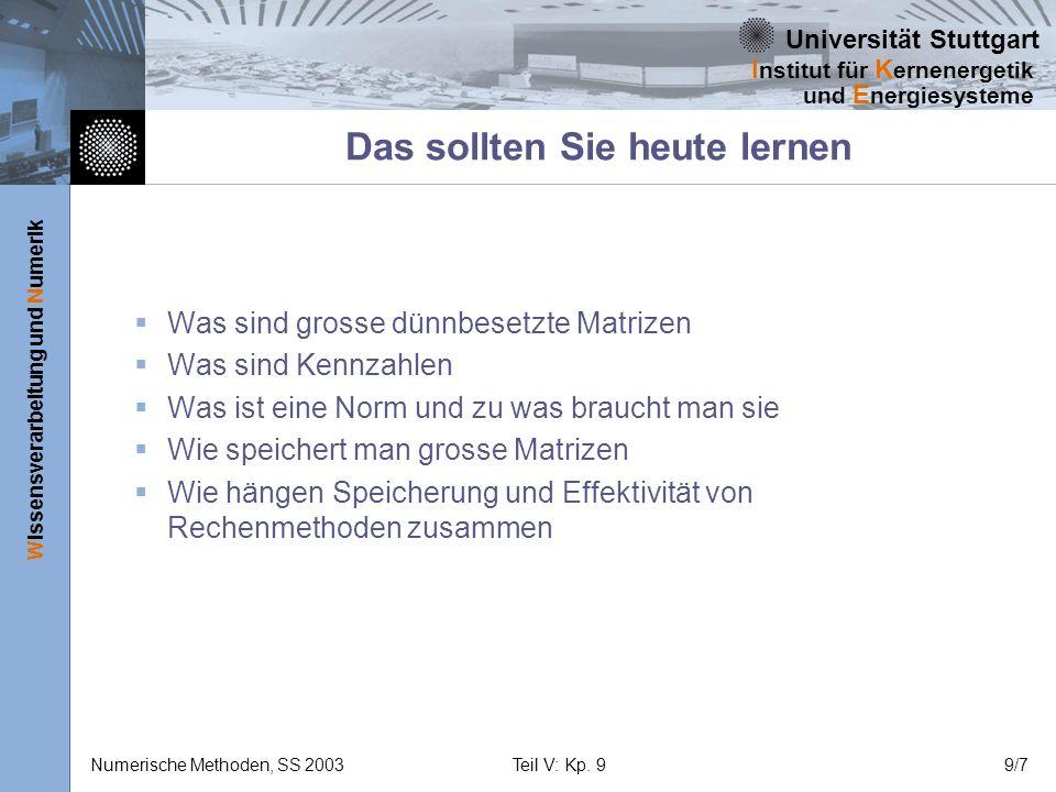 Universität Stuttgart Wissensverarbeitung und Numerik I nstitut für K ernenergetik und E nergiesysteme Numerische Methoden, SS 2003Teil V: Kp. 99/7 Da