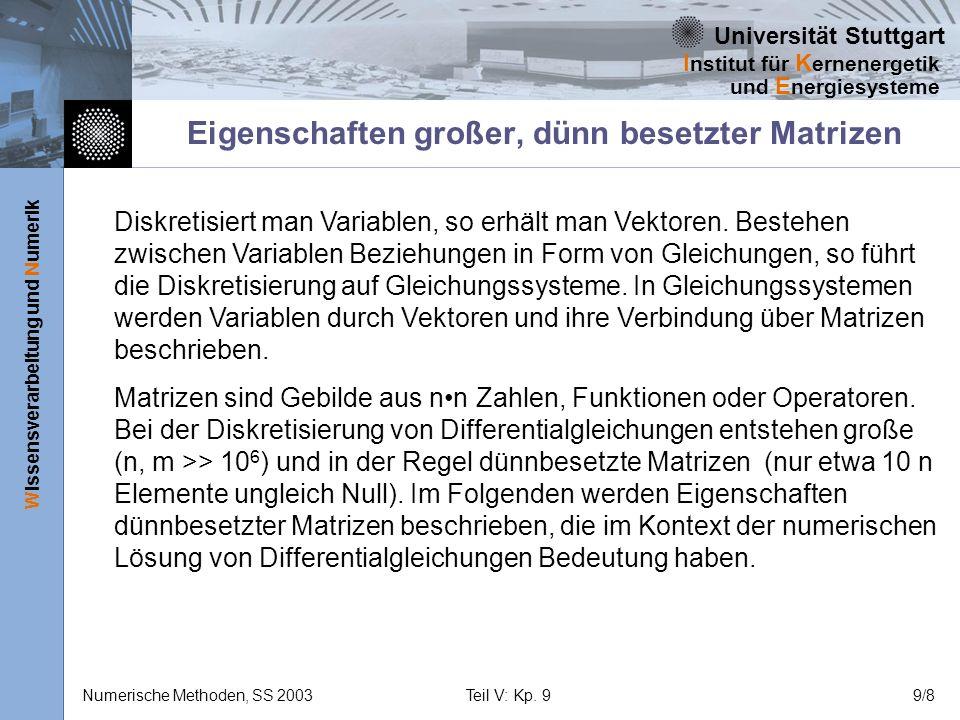 Universität Stuttgart Wissensverarbeitung und Numerik I nstitut für K ernenergetik und E nergiesysteme Numerische Methoden, SS 2003Teil V: Kp. 99/8 Ei