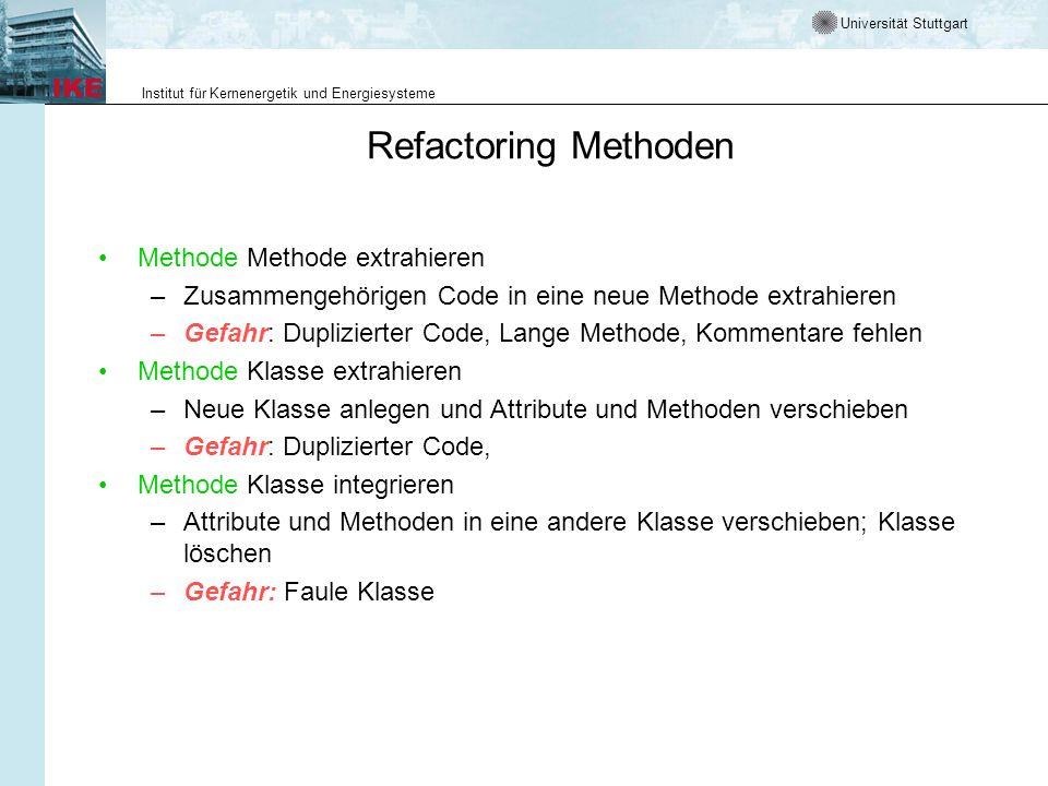 Universität Stuttgart Institut für Kernenergetik und Energiesysteme Refactoring Methoden Methode Methode extrahieren –Zusammengehörigen Code in eine n