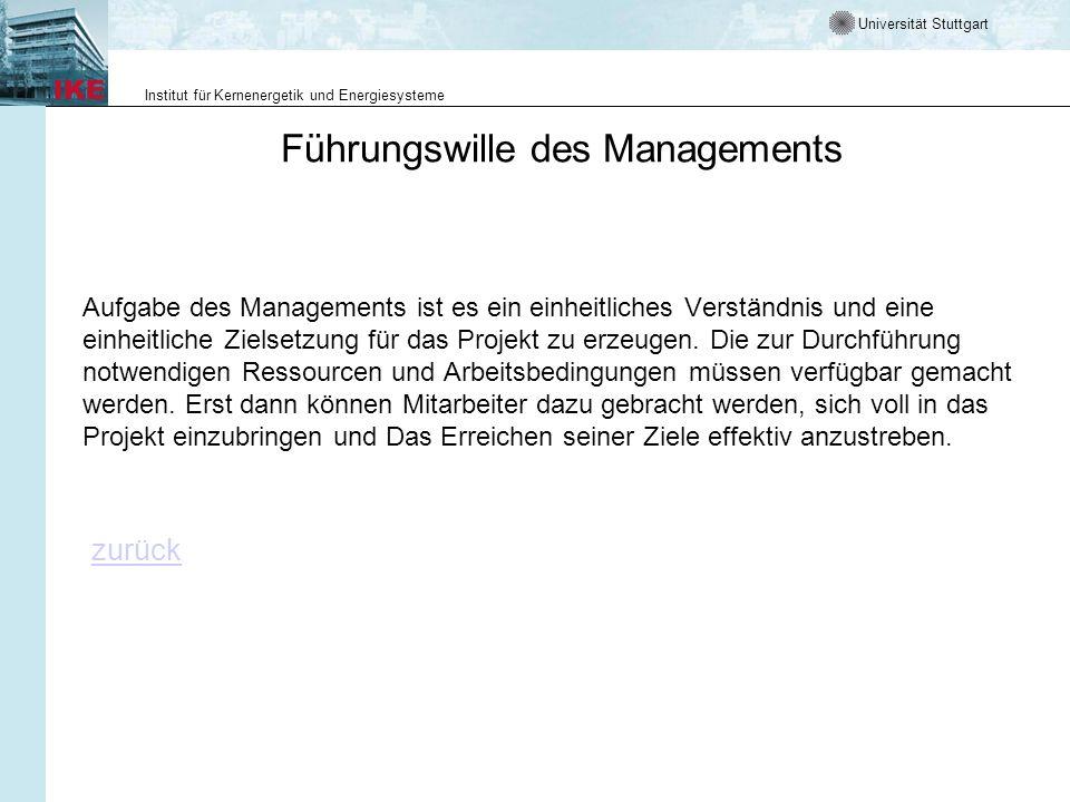 Universität Stuttgart Institut für Kernenergetik und Energiesysteme Führungswille des Managements Aufgabe des Managements ist es ein einheitliches Verständnis und eine einheitliche Zielsetzung für das Projekt zu erzeugen.
