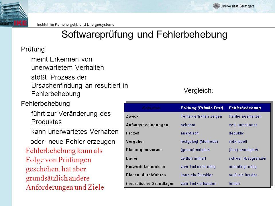 Universität Stuttgart Institut für Kernenergetik und Energiesysteme Softwareprüfung und Fehlerbehebung Prüfung meint Erkennen von unerwartetem Verhalt