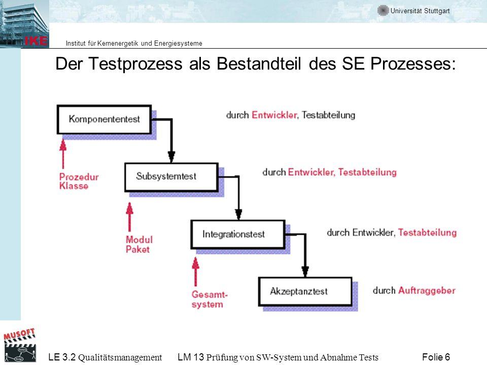 Universität Stuttgart Institut für Kernenergetik und Energiesysteme LE 3.2 Qualitätsmanagement Folie 27LM 13 Prüfung von SW-System und Abnahme Tests Abnahme und Abnahmetest Abnahmetest Auftraggeber überprüft die (vertraglich vereinbarten) Abnahmekriterien Wartung verbleibt bei Auftragnehmer: Benutzbarkeit, Effizienz, Zuverlässigkeit, Korrektheit, … werden getestet Wartung geht auf Auftraggeber über: zusätzlich spielen Wartbarkeit, Portierbarkeit, Testbarkeit, Erweiterbarkeit, … eine wichtige Rolle Abnahmeprotokoll: In ihm werden die durchgeführten Abnahmetests und ihre Ergebnisse festgehalten.