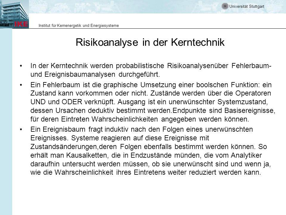 Universität Stuttgart Institut für Kernenergetik und Energiesysteme Risikoanalyse in der Kerntechnik In der Kerntechnik werden probabilistische Risiko