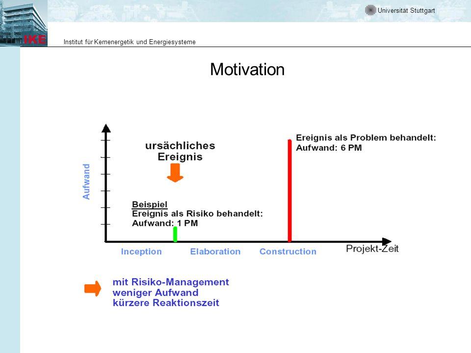 Universität Stuttgart Institut für Kernenergetik und Energiesysteme Motivation
