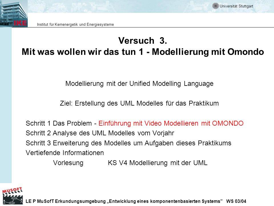 Universität Stuttgart Institut für Kernenergetik und Energiesysteme LE P MuSofT Erkundungsumgebung Entwicklung eines komponentenbasierten Systems WS 0