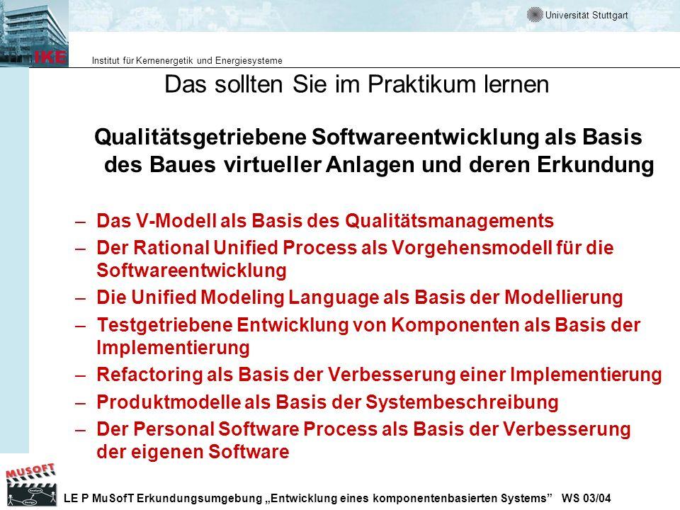Universität Stuttgart Institut für Kernenergetik und Energiesysteme LE P MuSofT Erkundungsumgebung Entwicklung eines komponentenbasierten Systems WS 03/04 Submodelle des V-Modell Der gesamte Prozess ist in Tätigkeitsbereiche untergliedert.