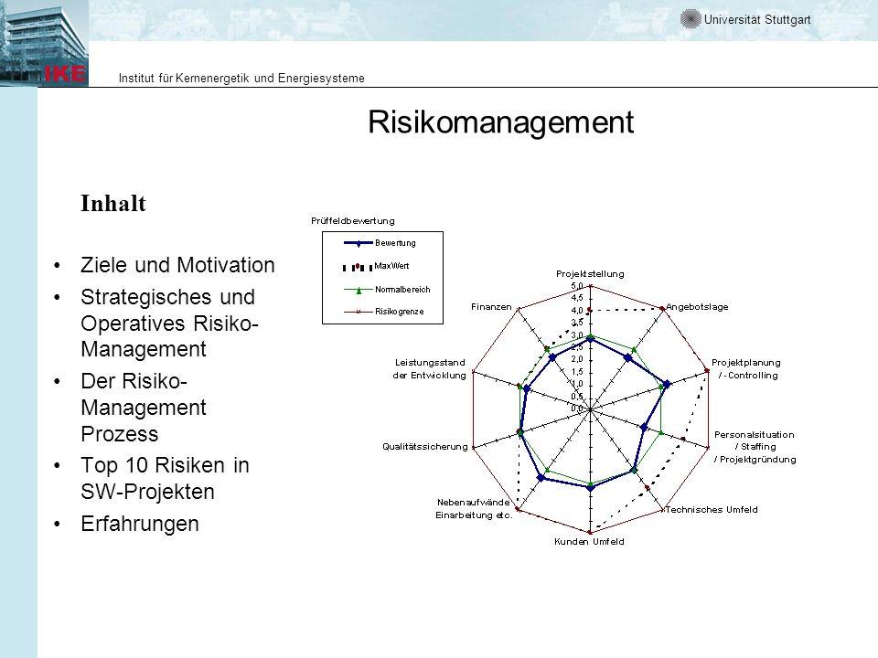 Universität Stuttgart Institut für Kernenergetik und Energiesysteme Risikomanagement Inhalt Ziele und Motivation Strategisches und Operatives Risiko- Management Der Risiko- Management Prozess Top 10 Risiken in SW-Projekten Erfahrungen