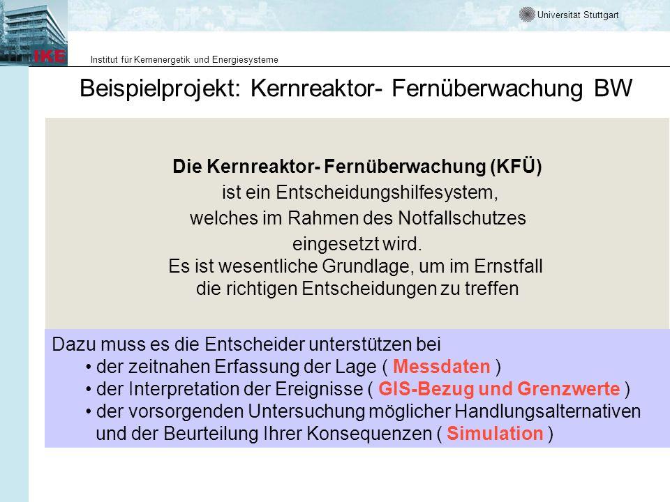 Universität Stuttgart Institut für Kernenergetik und Energiesysteme Die Kernreaktor- Fernüberwachung (KFÜ) ist ein Entscheidungshilfesystem, welches i