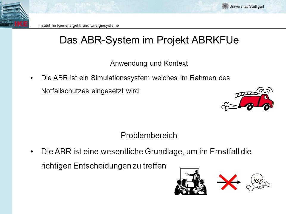 Universität Stuttgart Institut für Kernenergetik und Energiesysteme Das ABR-System im Projekt ABRKFUe Anwendung und Kontext Die ABR ist ein Simulation