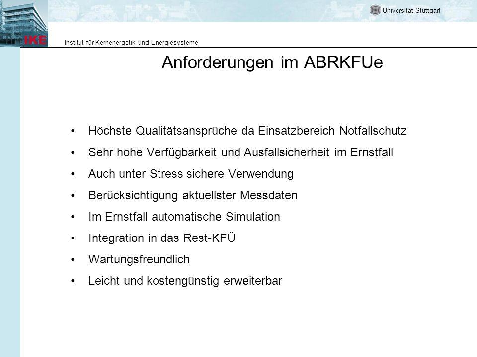 Universität Stuttgart Institut für Kernenergetik und Energiesysteme Anforderungen im ABRKFUe Höchste Qualitätsansprüche da Einsatzbereich Notfallschut