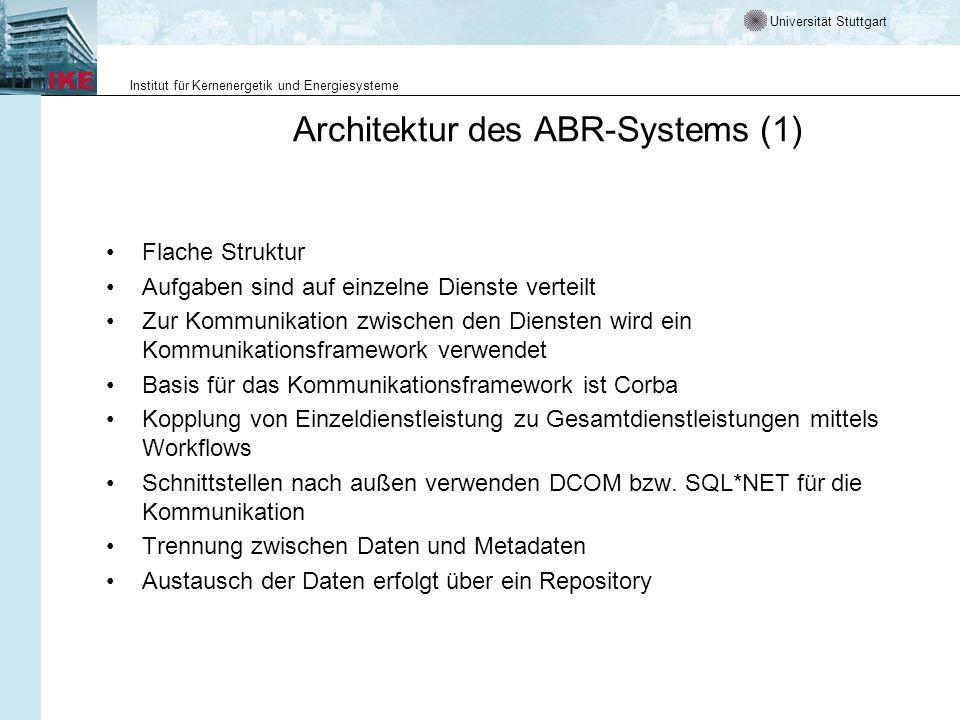 Universität Stuttgart Institut für Kernenergetik und Energiesysteme Architektur des ABR-Systems (1) Flache Struktur Aufgaben sind auf einzelne Dienste
