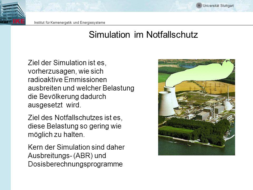 Universität Stuttgart Institut für Kernenergetik und Energiesysteme Simulation im Notfallschutz Ziel der Simulation ist es, vorherzusagen, wie sich ra