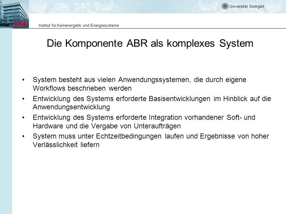 Universität Stuttgart Institut für Kernenergetik und Energiesysteme Die Komponente ABR als komplexes System System besteht aus vielen Anwendungssystem