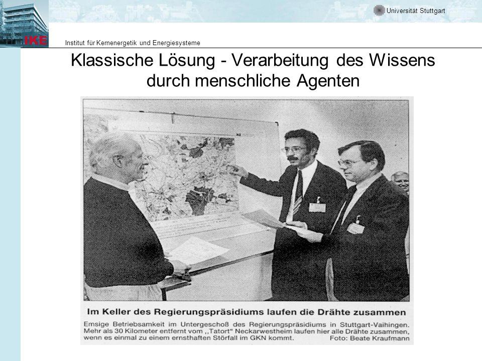 Universität Stuttgart Institut für Kernenergetik und Energiesysteme Klassische Lösung - Verarbeitung des Wissens durch menschliche Agenten