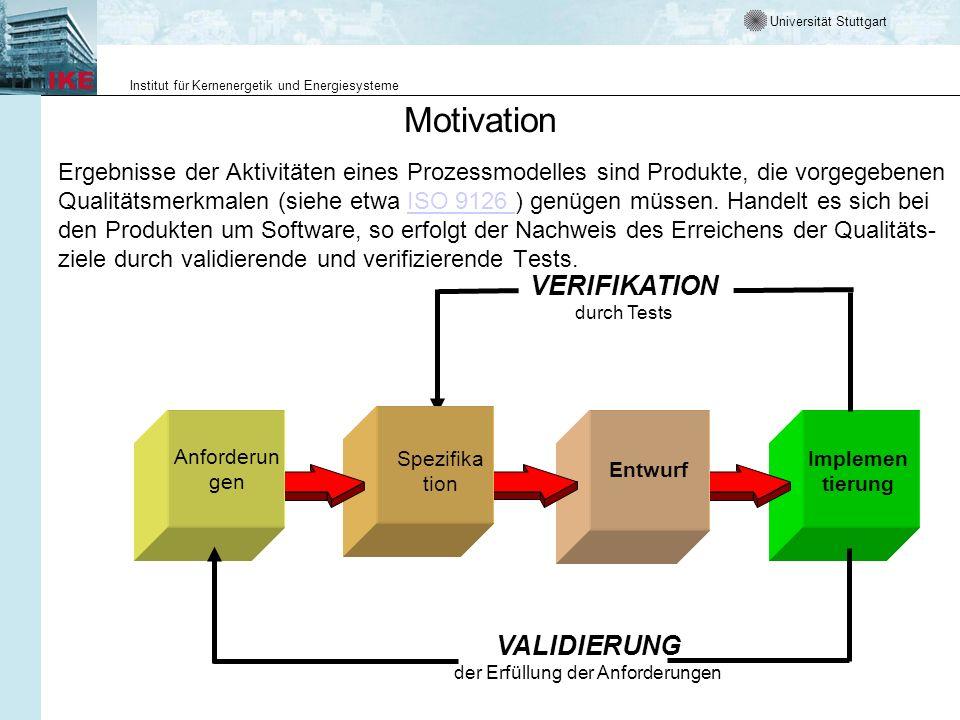 Universität Stuttgart Institut für Kernenergetik und Energiesysteme Motivation Ergebnisse der Aktivitäten eines Prozessmodelles sind Produkte, die vor