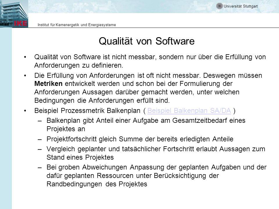 Universität Stuttgart Institut für Kernenergetik und Energiesysteme Qualität von Software Qualität von Software ist nicht messbar, sondern nur über di