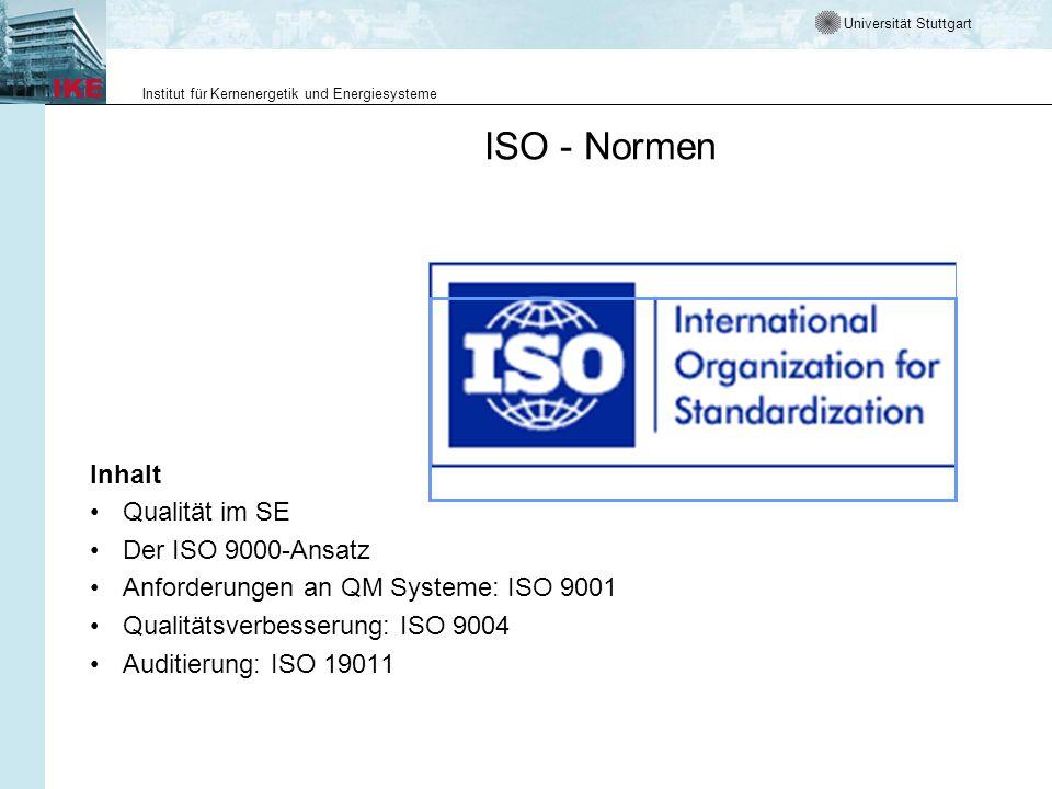 Universität Stuttgart Institut für Kernenergetik und Energiesysteme ISO - Normen Inhalt Qualität im SE Der ISO 9000-Ansatz Anforderungen an QM Systeme