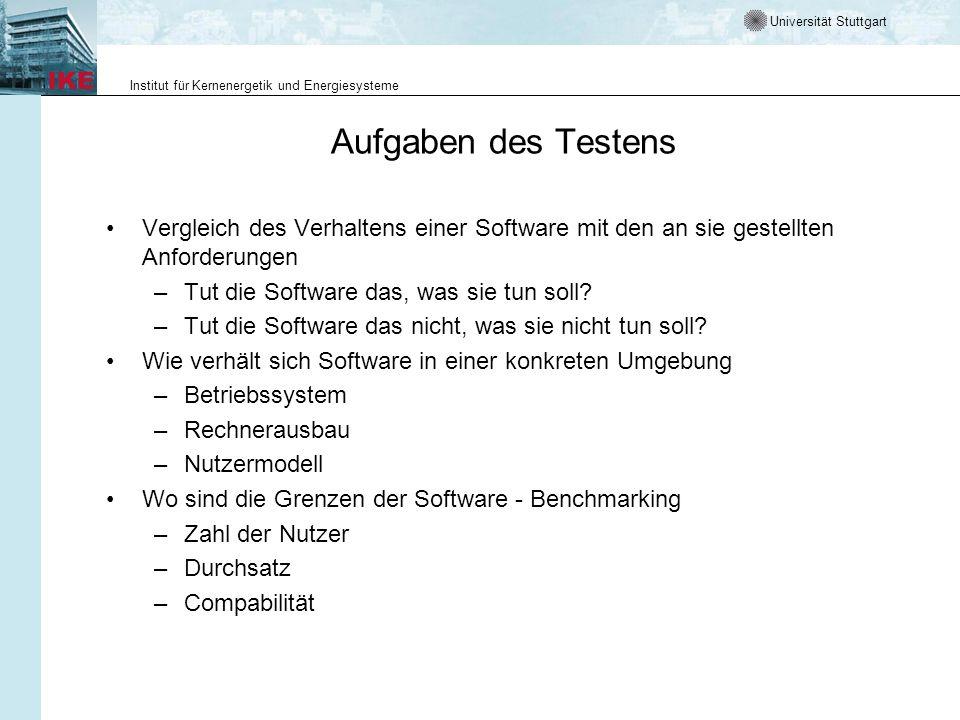 Universität Stuttgart Institut für Kernenergetik und Energiesysteme Aufgaben des Testens Vergleich des Verhaltens einer Software mit den an sie gestellten Anforderungen –Tut die Software das, was sie tun soll.